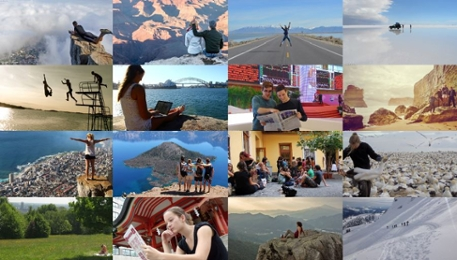 A collage of photos taking by students on exchange, from all corners of the world